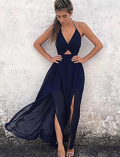 voordelige Maxi-jurken-Dames Standaard Schede Jurk - Bloemen Diepe V-hals Maxi