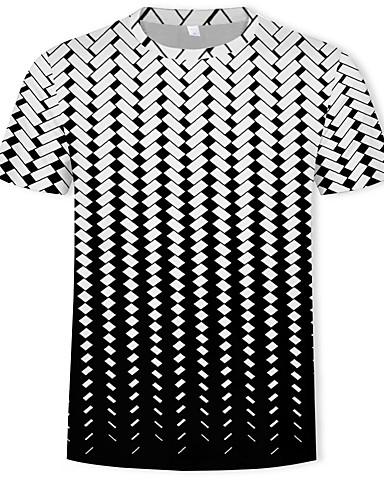 cheap Men's Tees & Tank Tops-Men's Basic / Street chic T-shirt - Geometric / 3D Print Round Neck Black US36 / Short Sleeve