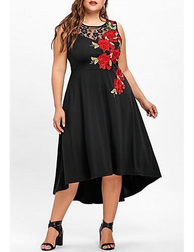 voordelige Grote maten jurken-Dames Grote maten A-lijn Jurk - Bloemen Asymmetrisch / Uitgaan