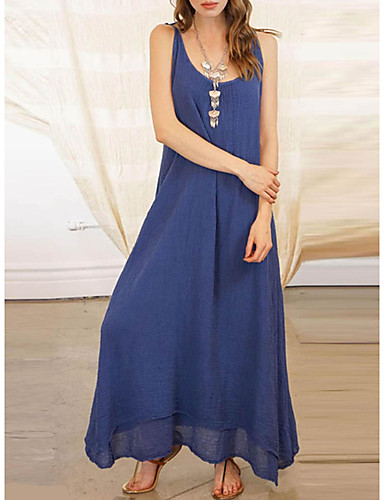 Damen Elegant Tunika Swing Kleid Solide Maxi