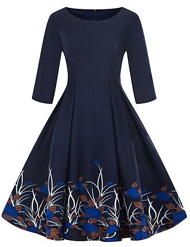 caef2a17f69 2019 New Arrival Dresses Women s Vintage Elegant A Line Sheath Little Black  Dress Elbise Vestidos Robe Femme - Floral Print Navy Blue XXL XXXL XXXXL
