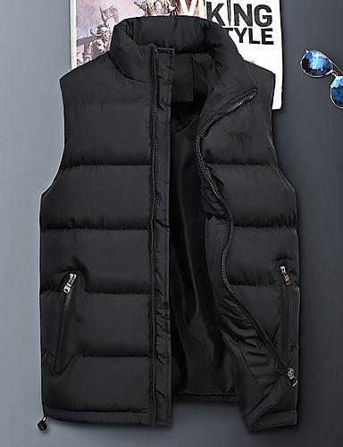 voordelige Heren donsjassen & parka's-Heren Dagelijks Standaard Effen Normaal Vest, Polyester Mouwloos Winter Coltrui blauw / Zwart / Leger Groen XXXXL / XXXXXL / XXXXXXL