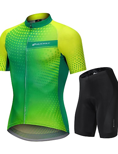 cheap Cycling Clothing-Nuckily Men's Cycling Jersey with Shorts - Green / Yellow Gradient Bike Clothing Suit Breathable Sports Polyester Spandex Spots & Checks Mountain Bike MTB Road Bike Cycling Clothing Apparel