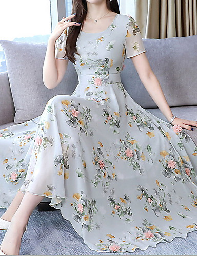 voordelige Maxi-jurken-Dames Slank T Shirt Wijd uitlopend Overhemd Jurk Maxi