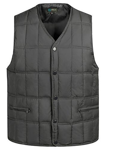 voordelige Heren donsjassen & parka's-Heren Dagelijks Standaard Effen Normaal Vest, Polyester Mouwloos Winter V-hals blauw / Leger Groen XXXL / XXXXL / XXXXXL