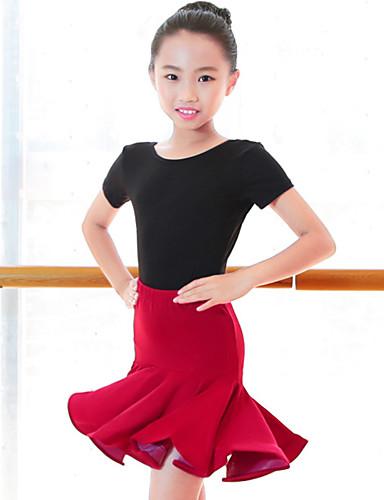 voordelige Shall We®-Latin dans / Kinderdanskleding Outfits Meisjes Prestatie Melkvezel Ruches Korte mouw Hoog Rokken / Gympak / Onesie