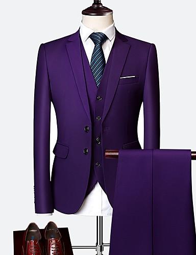 Tuxedos Räätälöity istuvuus / Normaali istuvuus Pystykäänne Yksirivinen kaksi nappia Villa / Polyesteri Yhtenäinen
