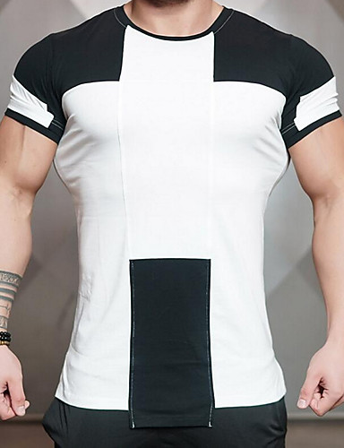 Hombre Algodón Camiseta, Escote Redondo Delgado Letra Blanco L