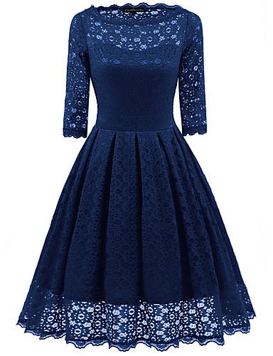 hesapli Vintage Kraliçesi-Kadın's Temel Zarif Çan Elbise - Solid Diz-boyu