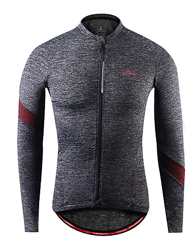 cheap Cycling Clothing-Men's Long Sleeve Cycling Jersey - Gray+Green Sky Blue+White Wine Red Solid Color Bike Jersey Top Breathable Moisture Wicking Sports Winter Spandex Clothing Apparel / Stretchy / Breathable Armpits