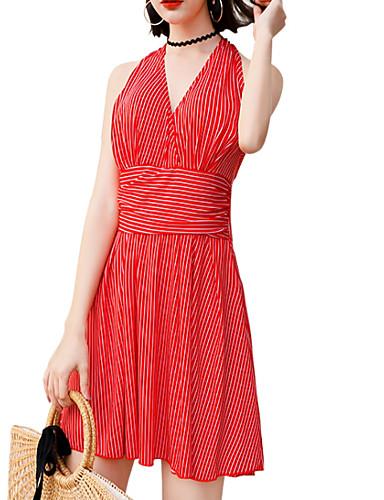 abordables Bañadores de Una Pieza-Mujer Negro Rojo Azul Real Falda Una Pieza Bañadores - Un Color Cruzado M L XL Negro