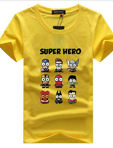 abordables Camisetas y Tops de Hombre-Hombre Estampado - Algodón Camiseta, Escote Redondo Caricatura Wine XXXL