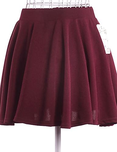abordables Jupes-Femme Basique Mini Balançoire Jupes - Couleur Pleine Plissé Noir Violet Rose Claire S M L