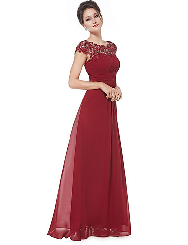 cheap Prom Dresses-A-Line Boat Neck Floor Length Chiffon / Lace Dress with Ruched / Lace Insert by LAN TING Express