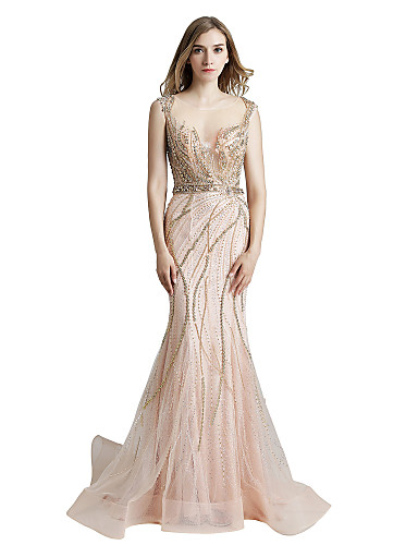 cheap Designers' Originals-Mermaid / Trumpet Jewel Neck Floor Length Tulle / Sequined Dress with Beading / Tier by JUDY&JULIA