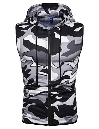 voordelige Heren T-shirts & tanktops-Heren Print Singlet camouflage Capuchon Slank Rood