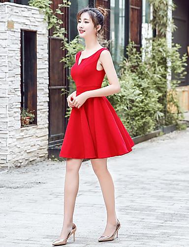 Χαμηλού Κόστους Φορέματα Ξεχωριστών Γεγονότων-Γραμμή Α Λαιμόκοψη V Κοντό / Μίνι Σιφόν Φόρεμα με με LAN TING Express