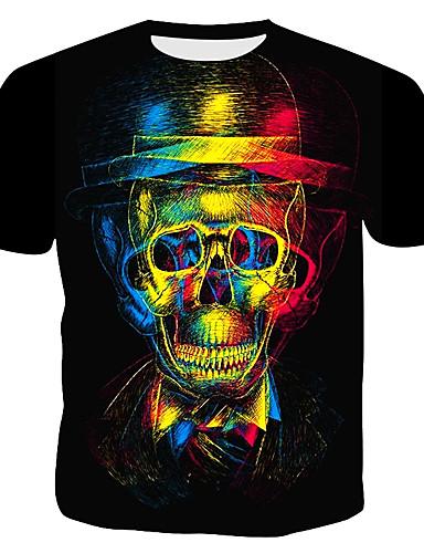 voordelige Herenbovenkleding-Heren Print T-shirt 3D Zwart XL