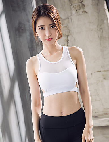 fa80811af24ee1 Women s See Through Padded Tank Top Crop Top White Black Sports Solid Color Tank  Top Top Yoga Fitness Sleeveless Activewear Lightweight Breathable Quick Dry  ...
