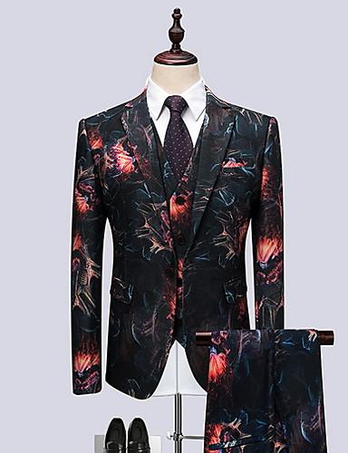 お買い得  メンズブレザー&スーツ-男性用 スーツ, 幾何学模様 ノッチドラペル ポリエステル ブラック / ルビーレッド XXXXL / XXXXXL / XXXXXXL