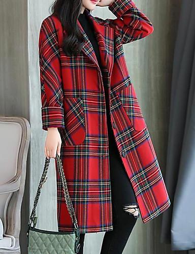 abordables Manteaux & Vestes Femme-Femme Quotidien Basique Longue Manteau, Pied-de-poule Col de Chemise Manches Longues Polyester Vert / Rouge L / XL / XXL