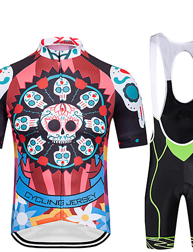 cheap Cycling Clothing-FirtySnow Men's Short Sleeves Cycling Jersey with Bib Shorts - Red Green Blue Bike Breathable Quick Dry Sports Creative Clothing Apparel / Stretchy
