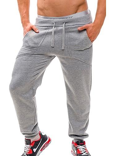 お買い得  メンズパンツ&ショーツ-男性用 ベーシック / ストリートファッション 日常 スポーツ 祝日 チノパン / スウェットパンツ パンツ - ソリッド ドローストリング コットン ブラック ダックグレー ライトグレー L XL XXL / 週末