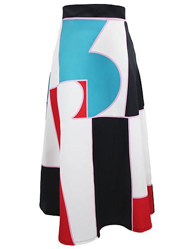 abordables Jupes-Femme Basique Trapèze Jupes - Fleur Géométrique Tricot Argent Gris Foncé Arc-en-ciel S M L / Mince
