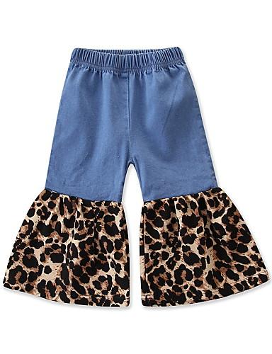 Adattabile Bambino - Bambino (1-4 Anni) Da Ragazza Attivo - Essenziale Leopardata Collage - Con Stampe Cotone - Elastene Pantaloni Blu #07279631