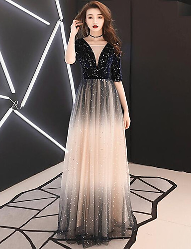 cheap Special Occasion Dresses-A-Line Plunging Neck Floor Length Sequined Dress with by LAN TING Express