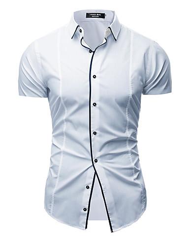 Hombre Tallas Grandes Camisa, Escote en Pico Un Color Blanco L