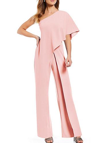 abordables Hauts pour Femmes-Femme Blanc Noir Rose Combinaison-pantalon, Couleur Pleine Mousseline de Soie M L XL Printemps Eté Automne / Hiver