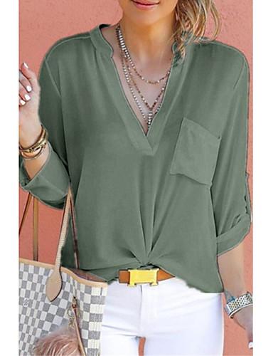 povoljno Majica-Veći konfekcijski brojevi Majica Žene Jednobojni V izrez Lila-roza