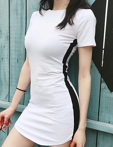 165c2ea9b0cb6 Women's Basic Bodycon Dress - Striped Patchwork White Black One-Size