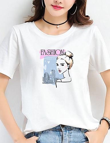 povoljno Ženske majice-Majica s rukavima Žene Pamuk Životinja / Slovo / Portret Print Obala