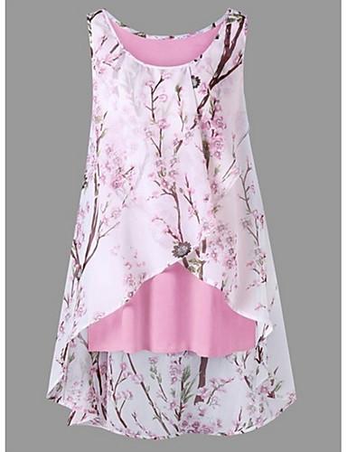 povoljno Ženske majice-Veći konfekcijski brojevi Potkošulja Žene Cvjetni print Cvijetan Crn / Proljeće / Ljeto / Jesen / Zima