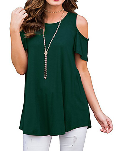 abordables Hauts pour Femme-Tee-shirt Femme, Couleur Pleine A Volants Basique / Elégant Bleu Vert