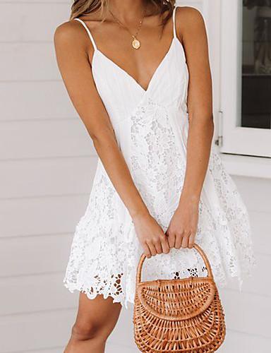 hesapli Romantik Dantel-Kadın's sofistike Zarif Kılıf Elbise - Solid Zıt Renkli Diz üstü
