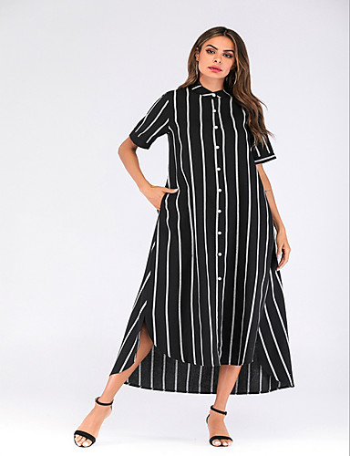 5f42577e06d4 Γυναικεία Κομψό Πουκάμισο Φόρεμα - Ριγέ Μακρύ