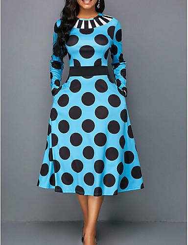 bc2686de424f Χαμηλού Κόστους Γυναικεία Φορέματα-Γυναικεία Γραμμή Α Φόρεμα Πουά Μίντι