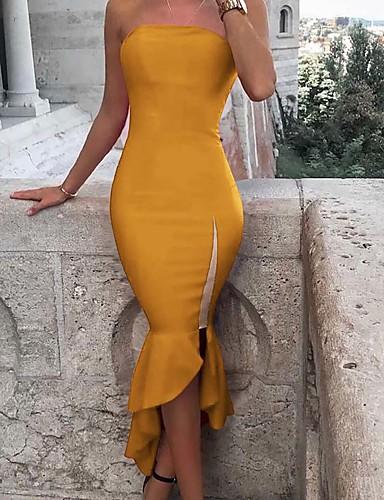 abordables Robes Femme-Femme Basique Asymétrique Gaine Balançoire Robe - Mosaïque, Couleur Pleine Rayé Noir Rouge Jaune L XL XXL Sans Manches