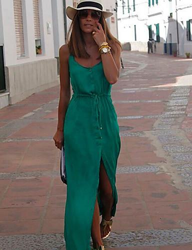 voordelige Maxi-jurken-Dames Street chic Schede Jurk - Effen, Split Bandje Maxi / Uitgaan