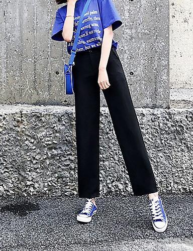 Generoso Per Donna Moda Città A Zampa Pantaloni - Tinta Unita Nero #07256638