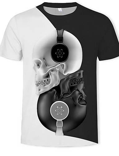 cheap Men's Tees & Tank Tops-Men's Casual / Daily Street chic / Exaggerated T-shirt - Color Block / 3D / Skull Print Round Neck Black XL / Short Sleeve
