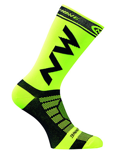 cheap Compression Clothing-Men's Cycling Socks Compression Socks Windproof Breathable Quick Dry Green / Yellow Black / Yellow Dark Green Winter Road Bike Mountain Bike MTB Basketball Stretchy / Road Bike Cycling