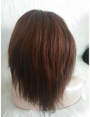 abordables Perruques Naturelles Dentelle-Perruque Cheveux Naturel humain Lace Frontale Cheveux Malaisiens Droit Marron Partie libre Femme Densité 130% Taille moyenne Court Auburn Autres