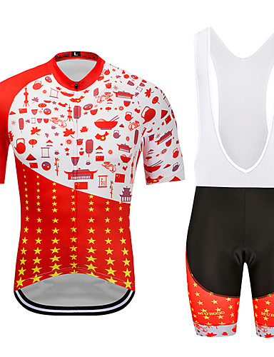 cheap Cycling Clothing-MUBODO Men's Short Sleeve Cycling Jersey with Bib Shorts - Red+Black Bike Clothing Suit Breathable Quick Dry Reflective Strips Sports Mesh Mountain Bike MTB Road Bike Cycling Clothing Apparel