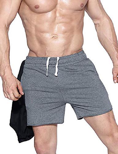 お買い得  メンズパンツ&ショーツ-男性用 スポーティー スウェットパンツ / ショーツ パンツ - ソリッド ブラック