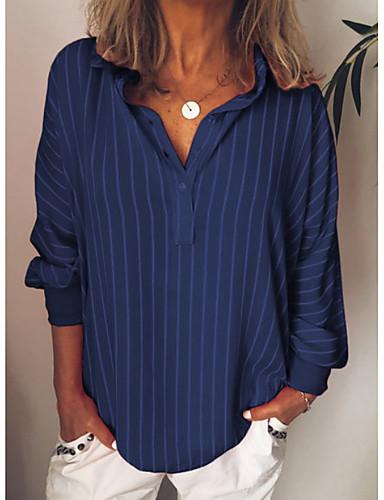 povoljno Majica-Veći konfekcijski brojevi Majica Žene Prugasti uzorak Kragna košulje Djetelina