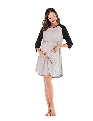 46d01eb08090 Χαμηλού Κόστους Ρούχα εγκυμοσύνης-Γυναικεία Βασικό Κομψό T Shirt Skater  Φόρεμα - Μονόχρωμο
